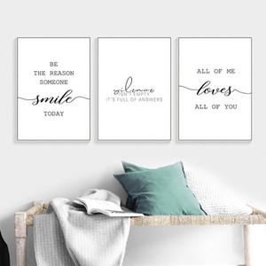 Lona nórdica Posters Inspirational Pictures Minimalista Imprimir Wall Art Preto Branco Motivacional Amor Citação Pintura Decoração