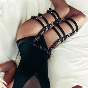 Harnais Femmes Body Leg Porte-jarretelles sexy noir épais cuir Bondage taille à la jambe réglable jarretelle Sangle haute qualité jarretières