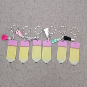 Criativo Dia Professores Chaveiro Moda Acrílico Lápis Keychain Personalizar Com Pequeno Tassel Chaveiro Presente Do Partido Do Festival TTA1066