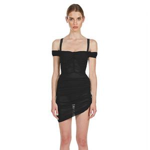 Ahagaga 2019 лето черный зеленый Мини платье женщин сексуальный с плеча сетки Ruched платье Femme Bodycon Ночной клуб Vestidos
