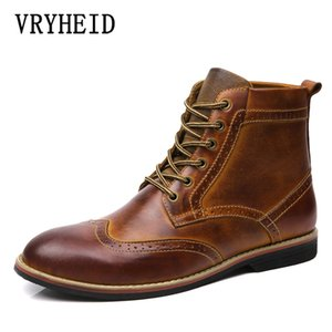 VRYHEID 2020 Autumn New Genuine Leather Men Boots Vintage Brogue College Style Men Shoes Casual Fashion Boots Man Big Size 38-47