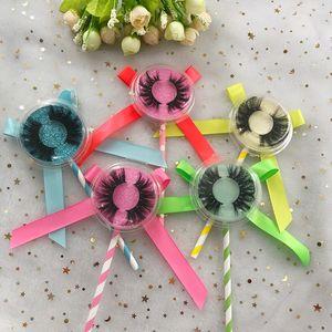 Lollipop personalizada Embalaje Caja de 25 mm de visón pestañas 100% hecho a mano completo de Gaza de pestañas dramático grueso Mink Pestañas