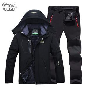 Pesca Ropa impermeable TRVLWEGO hombres invierno caliente al aire libre Senderismo Pesca Ropa Trekking camping chaquetas Pantalones Set