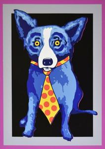 George Rodrigue Mavi Köpek Tie Ev Dekorasyonu Handpainted HD Yağ On Tuval Wall Art Canvas Resimler 200.111 Boyama yazdır