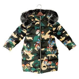 Enfants col de fourrure à capuche manteau hiver grandes filles Camouflage papillon imprimer Outwear mode enfants veste bébé vêtements C5699