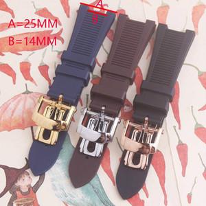 25 mm Noir Bleu bracelet étanche plongée en caoutchouc de silicone bande Watch sangles avec boucle déployante pour Nautilus 5711 5712
