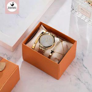 Montre Femme Uhr Frauen Luxus Lady Temperament Uhren Armband 3 Stücke Set Kette Armbanduhr Geburtstag Uhr Relogio Feminino