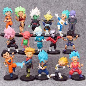 1 set = 16 pezzi 7,5 cm Dragon Ball Z Action Figure funko I personaggi storici Dragon Ball Z Action figure per giocattoli per bambini