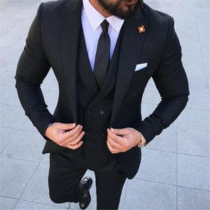 2020 Gentleman style Three Piece Formal Mens Suits for Wedding Groom Tuxedos Double Breasted Vest Jacket Pants B98