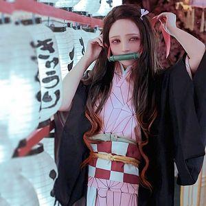 Kamado Nezuko cosplay kostümleri Japon anime Kimetsu hiçbir Yaiba giyim Cadılar Bayramı cosplay kostümleri Nokta kaynağı tam set