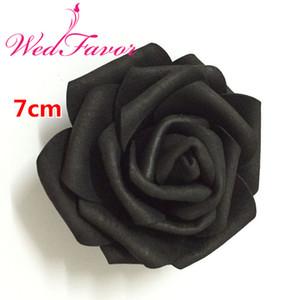 100шт 7сма черных Искусственного EVA пена Rose Flower головка для партии Свадебных украшений волос Венка наручного корсаж платье Аксессуары T191024