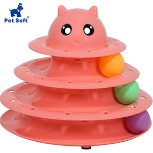 Pet macio Pet Interativo Brinquedos Cat três camadas Turntable Intelectual Pista Torre Toy engraçado Cat Placa giratória Toy Turntable