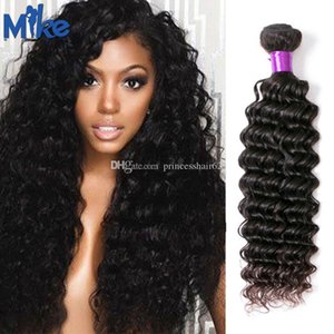 Mikehair 말레이시아 레미 인간의 머리 1 조각 브라질 머리 깊은 파도 곱슬 직조 자연 컬러 아프리카 여성을위한 페루 인도 헤어 묶음