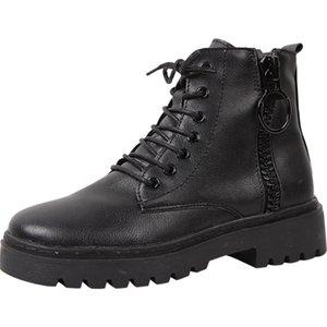 Nuova Primavera Inverno Boots Solid Black Leather Stivali Scarpe da donna Donna Lace Up Zipper piattaforma suola spessa femminile della caviglia