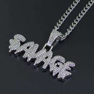 2019 новых мужчин хип-хоп замороженные bling дикарь кулон ожерелья из нержавеющей стали 76 см длиной кубинский цепи ожерелье хип-хоп ювелирные подарки