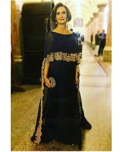 Elegant Dark Navy Mother of the Bride Dresses with Cap crew Gold Applique Floor Length 2020 Plus Size Evening Gowns Mother of the Groom