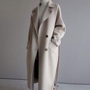 Kışlık Ceket Kadın Geniş Yaka Kemer Cep Yün Karışımı Ceket Boy Uzun Siper Dış Giyim Yün Kadınlar