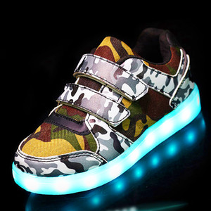 25-37 Size   USB Basket Led child Shoes With Light Up Kids Luminous Sneakers Children's Glowing Shoe enfant for Boys S200107