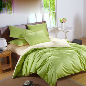 Solid Color Bedding Set Green cotton Bedding Sets King Size Queen Full Twin Size Fitted Cover Bed In a Bag bed sheet quilt cover pillowcase