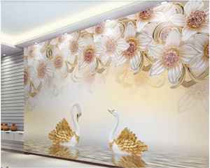 custom photo 3d wallpaper 3D space 3d stereo jewelry flower swan TV background wall stretch ceiling wallpaper for walls 3 d