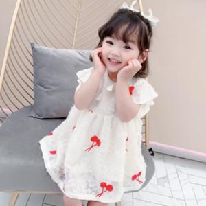 DFXD 2020 Bebek Giyim Kız Giydirme Yaz Kore Stil Kısa Kollu Prenses Elbise Çocuk Kostüm Partisi Vestido 2-7Yrs Yeni
