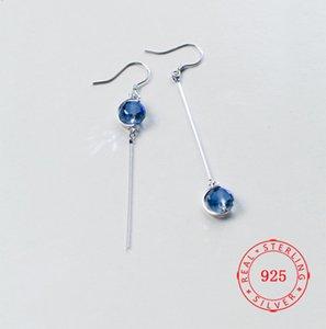 Kadınlar için moda tasarımı asılı küpe saf 925 gümüş sarkıyor mu mavi sentetik kristal elmas küpe takı