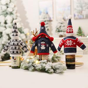 منتجات عيد الميلاد الجدول ديكورات للمنزل الحياكة الأحمر زجاجة النبيذ مجموعة مطعم سوبر ماركت الشمبانيا سانتا السنة الجديدة ديكور