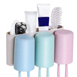 Toothbrush Holder Wall Mounted Self Adhesive Wheat Straw Bathroom Storage Organizer 3 Rinse Cups 4 Slots Toothpaste,Cleanser,Com