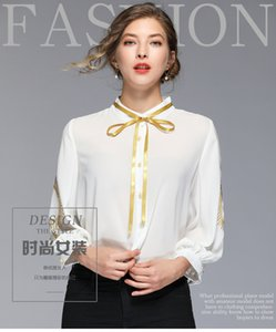 Women Blouses Shirt Vintage Embroidery White Women Chiffon Bow Crew Neck 3 4 Sleeve Office Ladies Business Daily Formal Spring DHL Free Ship