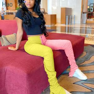 Haoyuan Taille Plus haute taille Stacked Sweatpants femmes Joggers élastique de Split Hem Leggings Bas de Bell Pantalon froncé Pantalon évasé T200422