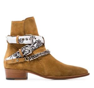 Neue Marke Ami Ri Bandana Buckle Boots Rock Roll-Kultur cool Suede silberfarbenem Metall Panzerkette Buckles Straps Low Stacked Heel Stiefel Schuhe