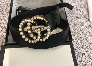 2020 mode ceinture haute spécification hommes qualité et la ceinture de perles des femmes: 3,8 Longueur 105-125cm corps de ceinture de perles tête boucle noire