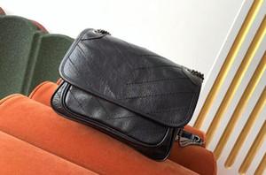 5A calidad superior bolsa de 533.037 21cm Niki bebé arrugado la piel de becerro de la vendimia del hombro del cuero, la bolsa de polvo + caja, envío libre de DHL