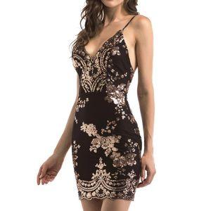 MIARHB Floral Robe pailletée été pour les femmes sexy dos nu manches Mini robe robe pour femme Night Party gaine Robes