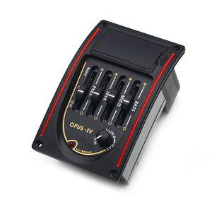 Opus-IV 4 Band Acoustic Guitar EQ Black Preamp 4 Band EQ Equalizer 96 * 58MM Pickup Black
