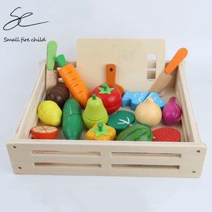 de nuevo chico de cocina Juguetes de madera Pretend Juguete de corte vegetal de la fruta miniatura Alimentos niñas Juego de Cocina de bebé Temprano Juguetes educativos Y200428