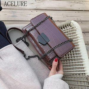 ACELURE Solid Color Stone Pattern PU Leather Crossbody Bag Women Small Shoulder Messenger Bag Metal Chain Handbag Shopping Purse