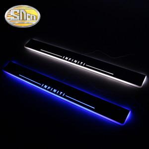 SNCN 4PCS LED de porte de voiture Sill Pour Infiniti QX70 2013 2014 2015 2016 Acrylique Flowing LED ultra-mince Bienvenue légère plaque pédale Scuff