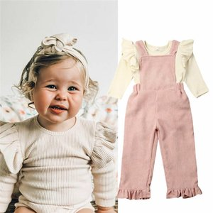 1-4Y Toddler Kids Baby Girls Corduroy Long Sleeve Ruffle Tops Romper Strap Bib Pants Autumn Winter Girl Clothes Outfits 2Pcs Set