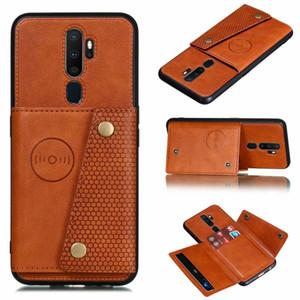 Cuoio Armatura della cassa del telefono per Oppo A9 2020 Luxury Business di credito del supporto di carta della copertura di vibrazione per OPPO A5 2020 casi