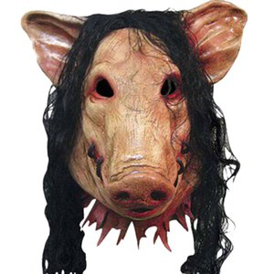 New Halloween Scary Masks Novelty Pig Head Horror with Hair Masks Caveira Cosplay Costume Realistic Latex Festival Supplies Mask