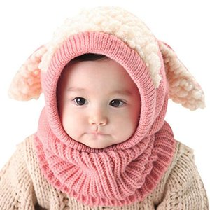 Winter Warm Beanie Baby Kids Boy&Girls Hats Toddler Cute Hooded Scarf Earflap Knit Wool Caps With Ears