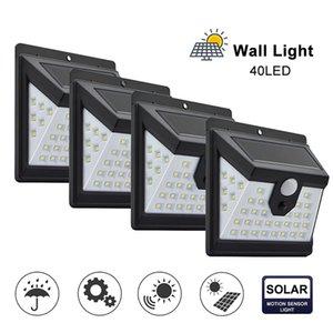 40 LED-Sonnenenergie-Licht-3-Modi Menschlicher Körper Sensor 4pcs Solarwand-Lampe im Freien wasserdichten Energieeinsparung Garten-Yard-Lichter