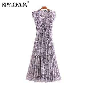 KPYTOMOA Women 2020 Chic Fashion Pleated Printed Ruffled Midi Dress Vintage Sleeveless Elastic Waist Tied Female Dresses Mujer