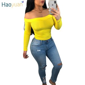 Plus Size Off The Shoulder Crop Tops For Women Tshirt Solid Black Yellow Navy Blue Streetwear Sexy Long Sleeve T Shirt C19041501