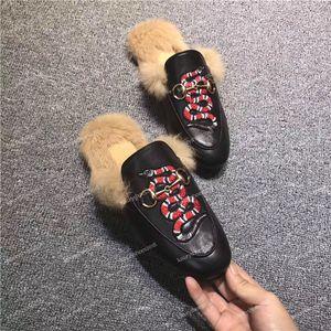 Top para hombre zapatillas de deporte de las mujeres de los holgazanes de las señoras de los deslizadores ocasionales del cuero genuino sandalias de piel de pelo hebilla patrón de la serpiente Zapatos Alpargatas