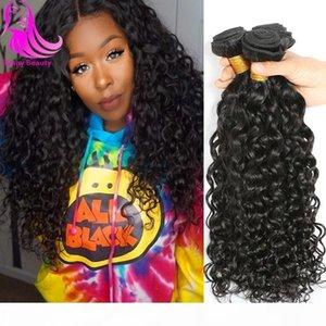 Indian Virgin Hair Water Wave 4 Bundles Sunny Beauty Hair Wet & Wavy Human Hair Weave Bundles Natural Ocean Wave Indian Curly