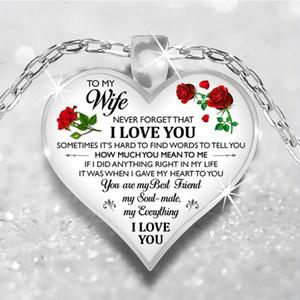 My Son Wife fille filles Granddaughter Fiancée Collier amour verre pendentif coeur DAD MOM I Love You Bijoux Cadeau