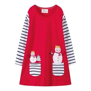 Dress Christmas Girl girocollo a maniche lunghe Snowman ricamato girocollo a maniche lunghe principessa Skirt lavorato a maglia ricamato pannello esterno della ragazza