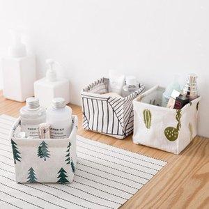 Negozio di cosmetici Case Modello di cactus Lino di cotone Scatole portaoggetti da scrivania Home Desktop Varie Articoli da ufficio Organizer 2 2ws L1